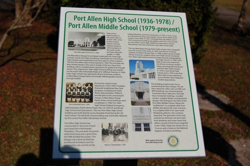 Port Allen Middle and High School Marker